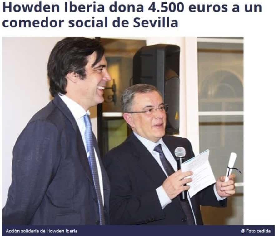 Howden Iberia dona 4.500 euros a un comedor social de Sevilla